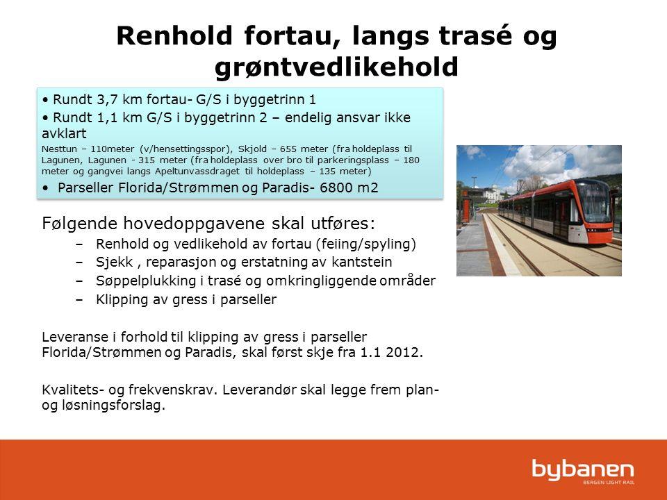 Rundt 3,7 km fortau- G/S i byggetrinn 1 Rundt 1,1 km G/S i byggetrinn 2 – endelig ansvar ikke avklart Nesttun – 110meter (v/hensettingsspor), Skjold –
