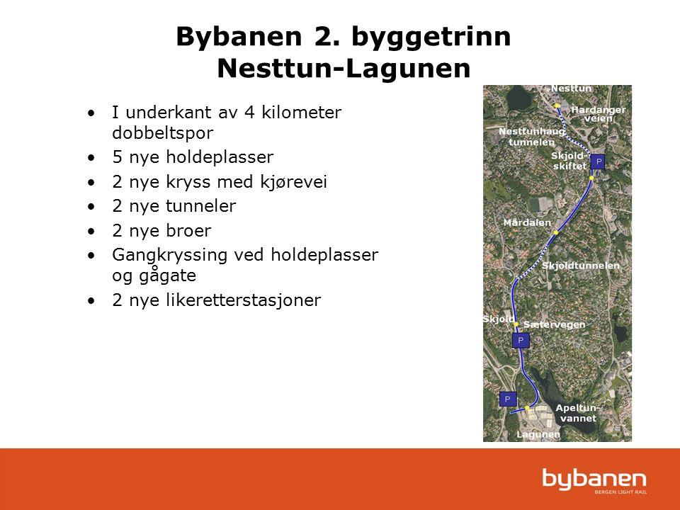Bybanen 2. byggetrinn Nesttun-Lagunen I underkant av 4 kilometer dobbeltspor 5 nye holdeplasser 2 nye kryss med kjørevei 2 nye tunneler 2 nye broer Ga