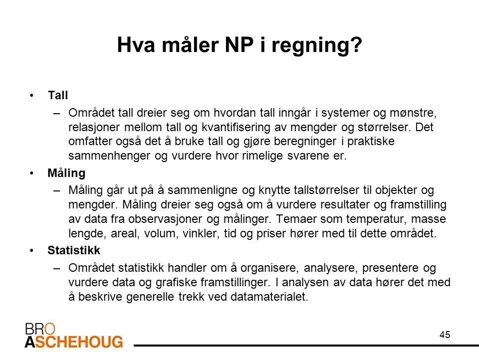 Hva måler NP i regning? Tall –Området tall dreier seg om hvordan tall inngår i systemer og mønstre, relasjoner mellom tall og kvantifisering av mengde