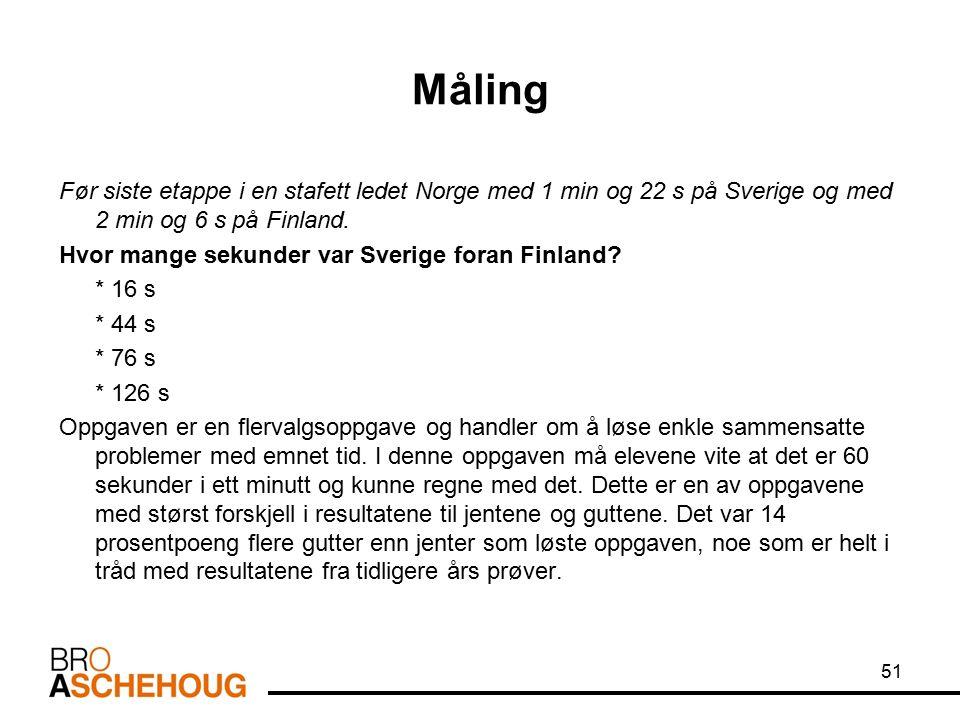 Måling Før siste etappe i en stafett ledet Norge med 1 min og 22 s på Sverige og med 2 min og 6 s på Finland. Hvor mange sekunder var Sverige foran Fi