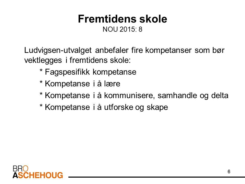 Fremtidens skole NOU 2015: 8 Ludvigsen-utvalget anbefaler fire kompetanser som bør vektlegges i fremtidens skole: * Fagspesifikk kompetanse * Kompetan