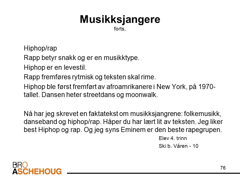 Musikksjangere forts. Hiphop/rap Rapp betyr snakk og er en musikktype. Hiphop er en levestil. Rapp fremføres rytmisk og teksten skal rime. Hiphop ble