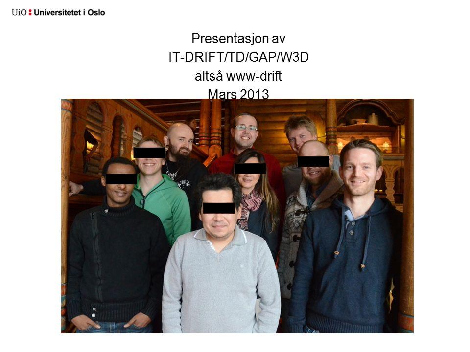 Presentasjon av IT-DRIFT/TD/GAP/W3D altså www-drift Mars 2013
