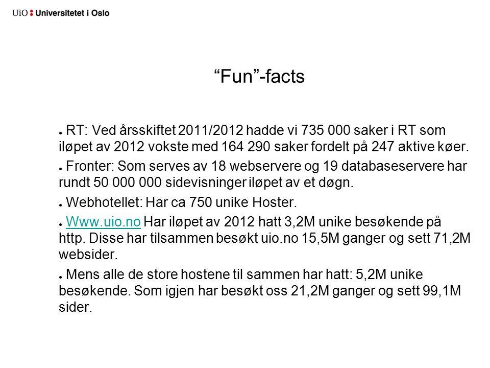 Fun -facts ● RT: Ved årsskiftet 2011/2012 hadde vi 735 000 saker i RT som iløpet av 2012 vokste med 164 290 saker fordelt på 247 aktive køer.