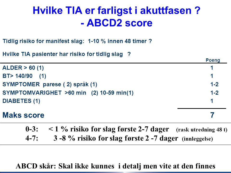 25 ABCD2 -Skår: 0-3 : rask poliklinikk/dagutrening 4-7: innleggelse ø-hj