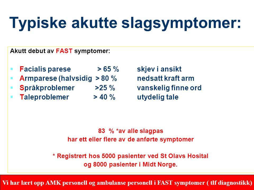 29 Akutt hjerneslag Alle pasienter med symptomer på akutt hjerneslag skal innlegges som ø.hjelp REF: WHO Region Europa- Statens Helsetilsyn Helsedirek