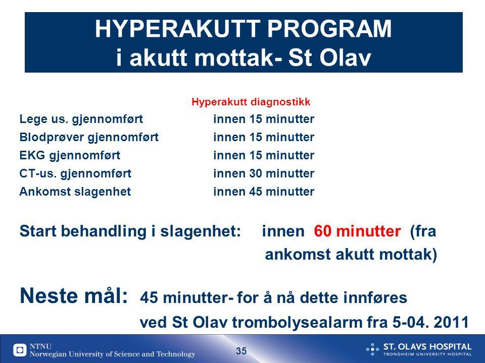 34 Akutt mottak- lege tilstede ved ankomst for pas som ankommer innen 6 t Hyperakutt -Diagnostikk Anamnese: Akutt debut-debut tidspunkt Klinisk u.s: V