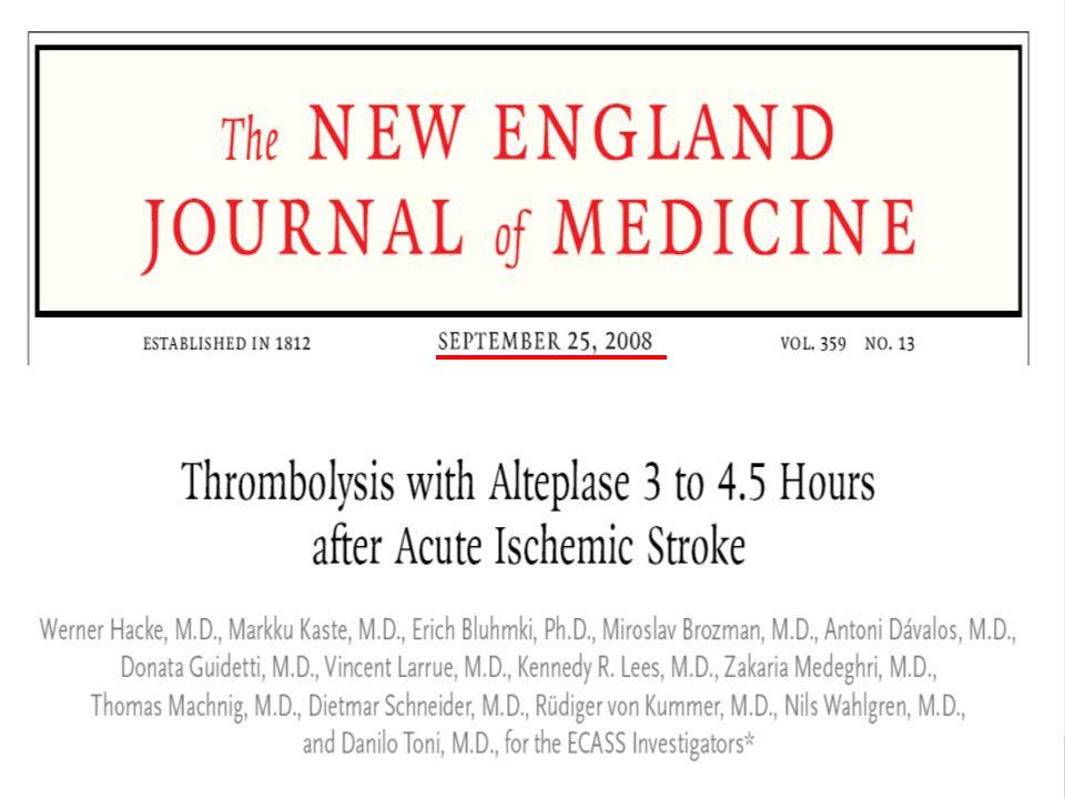 47 Trombolyse( Alteplase) gitt 0-3 timer OR for død / avhengighet Styrke: Stor effekt Svakhet: få pasienter er studert