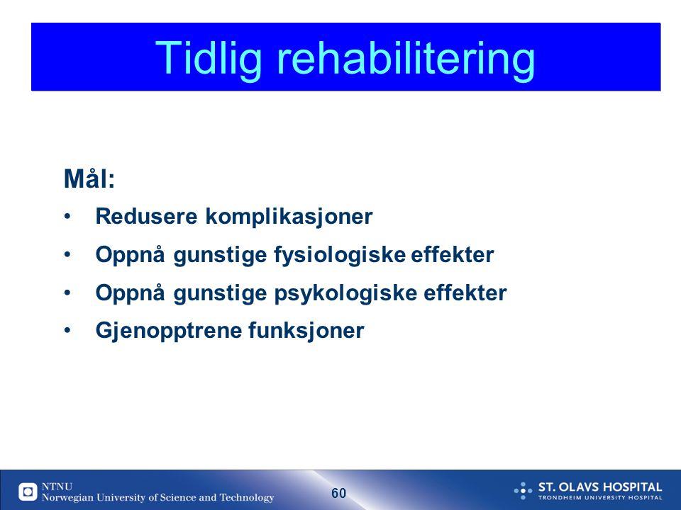 59 Begrense skaden ved hjerneinfarkt: Trombolyse Acetylsalicylsyre hvis ikke trombolyse Fysiologisk homeostase: MÅL: Syst BT: 140-200 Ringeracetat for å heve BT Trandate infusjon hvis BT 210/110 .