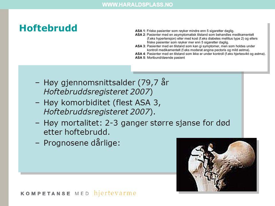WWW.HARALDSPLASS.NO –Høy gjennomsnittsalder (79,7 år Hoftebruddsregisteret 2007) –Høy komorbiditet (flest ASA 3, Hoftebruddsregisteret 2007).