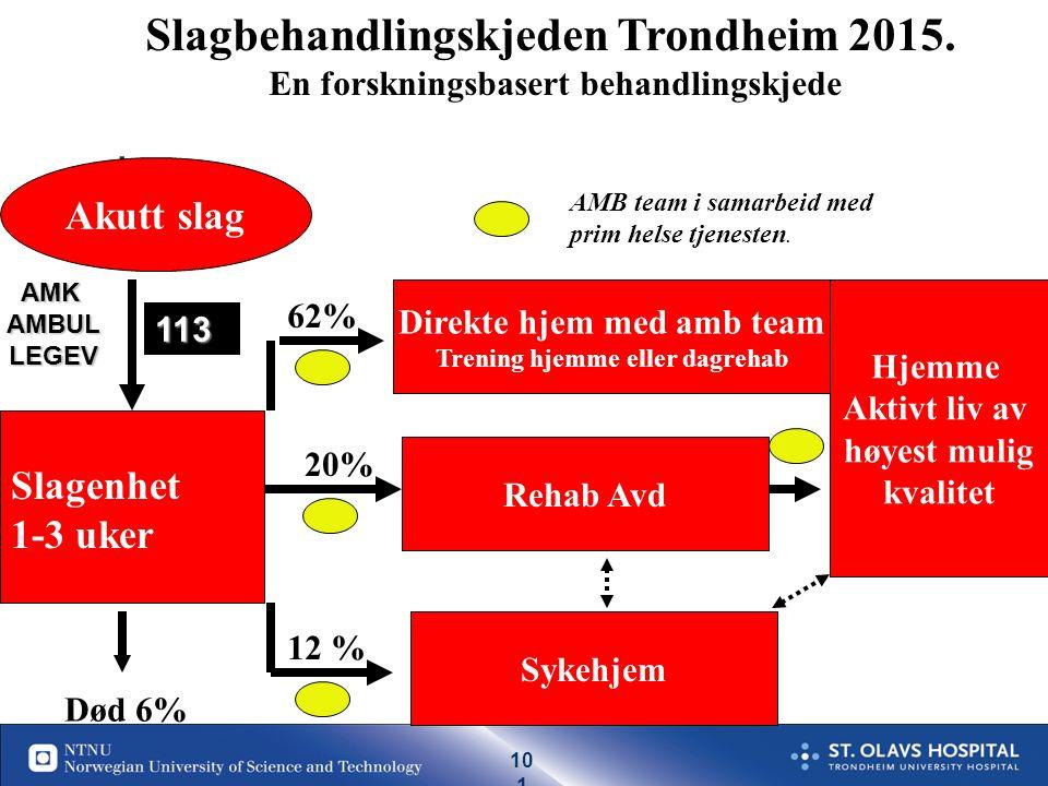 10 0 19.09.2016| 100 Behandlingstilbud som bidrar til selvhjulpenhet etter slag i Norge (antall pasienter med slag som blir selvhjulpen pga helsetjenesten per år) Forskningsbasert kunnskap applisert på en norsk befolkning Ref: Hankey 2006, Warlow 2008 Langhorne 2009, Cochrane reviews 100 % 35% 10% 10% 80% 70 % 80% 5% Alle TIA 15% 80% 40% Lite forskning Andel tilbudt resp.