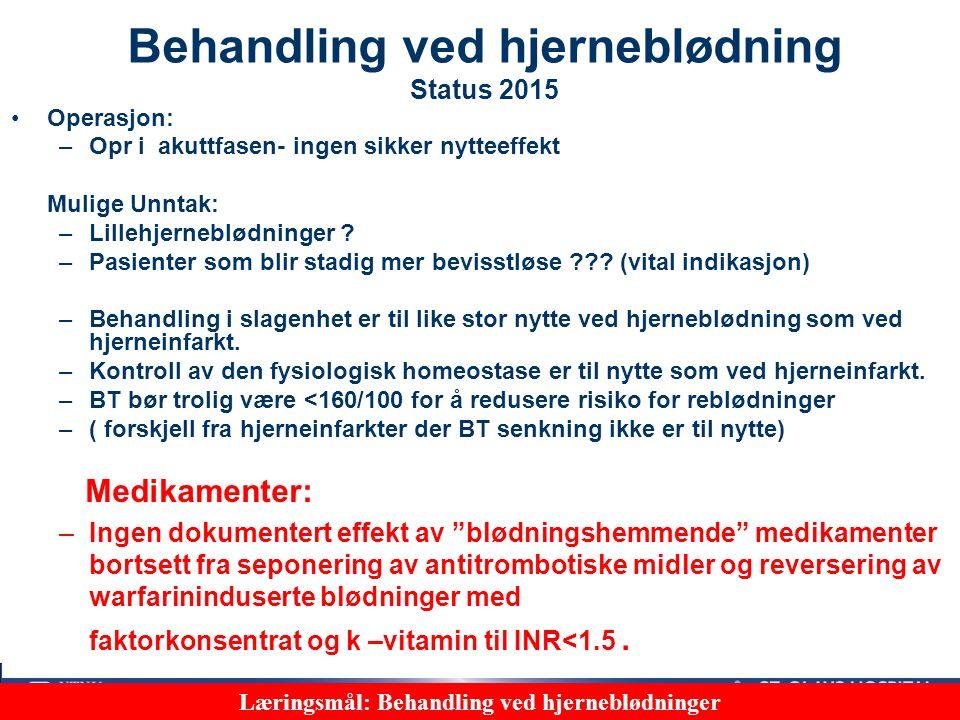 43 Bildediagnostikk CT eller MR trengs for å skille mellom hjerneblødning og hjerneinfarkt Blødning Hjerneinfarkt Læringsmål: Bruk av bilde-undersøkelser