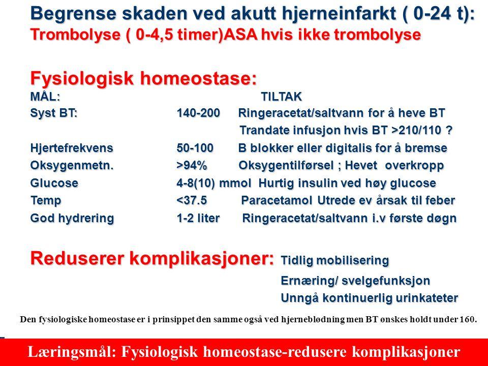 60 Iskemisk slag ( 9 av 10 slag) 2 akutte behandlingsprinsipper Akutt behandlingsmulighet 1: ReperfusjonAkutt behandlingsmulighet 2: Fysiologisk homeostase (Optimale forhold i naboårer) Læringsmål