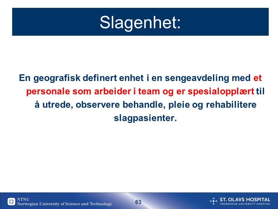 62 19.09.2016| 62 Behandlingstilbud som bidrar til selvhjulpenhet etter slag i Norge (antall pasienter med slag som blir selvhjulpen pga helsetjenesten per år) Forskningsbasert kunnskap applisert på en norsk befolkning Ref: Hankey 2006, Warlow 2008 Langhorne 2009, Cochrane reviews 100 % 35% 10% 10% 80% 70 % 80% 5% Alle TIA 15% 80% 40% Lite forskning Andel tilbudt resp.