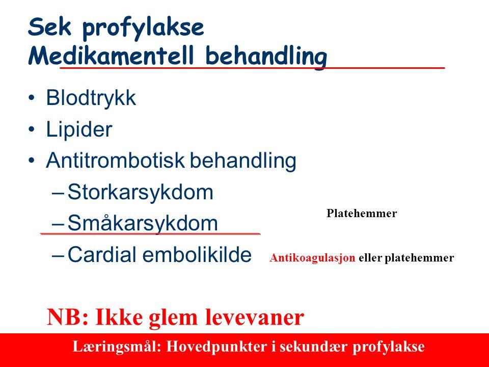 81 Cardiac embolism embolism20-30% Largevesseldisease40-60% Small vessel disease20-25% 5-8% Othercauses Årsakertil hjerne- hjerne-infarkter