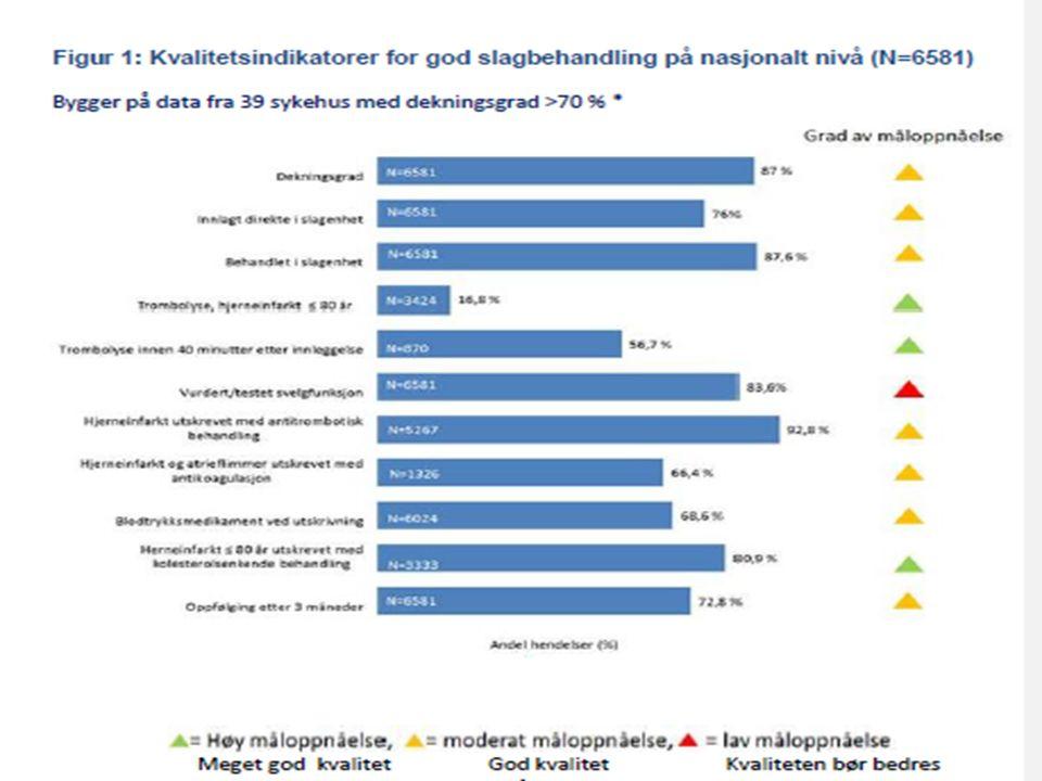 92. Vi er klart på topp når det gjelder hvem som har forbedret seg mest innen slagbehandling de siste årene OECD: Forbedringen skyldes de mange slagen