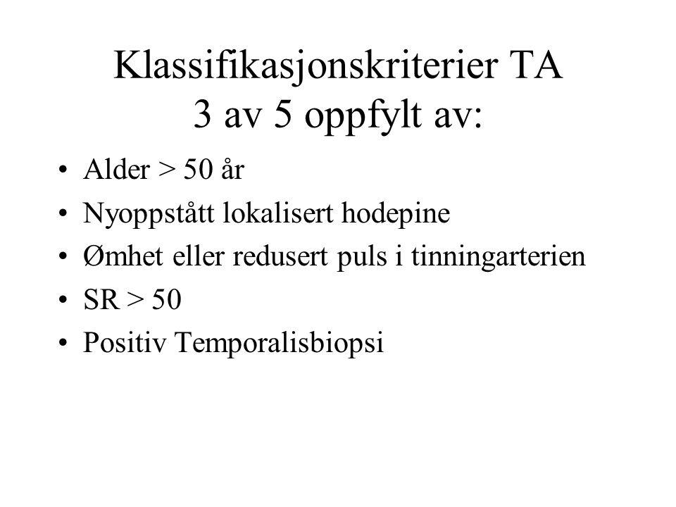 Klassifikasjonskriterier TA 3 av 5 oppfylt av: Alder > 50 år Nyoppstått lokalisert hodepine Ømhet eller redusert puls i tinningarterien SR > 50 Positiv Temporalisbiopsi