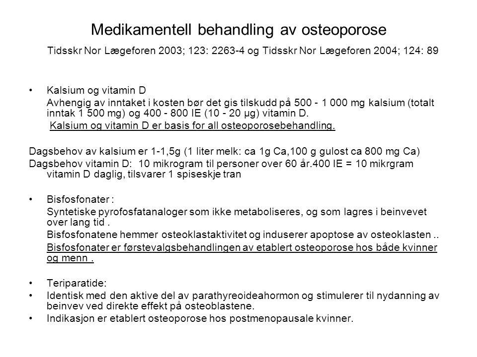 Medikamentell behandling av osteoporose Tidsskr Nor Lægeforen 2003; 123: 2263-4 og Tidsskr Nor Lægeforen 2004; 124: 89 Kalsium og vitamin D Avhengig av inntaket i kosten bør det gis tilskudd på 500 - 1 000 mg kalsium (totalt inntak 1 500 mg) og 400 - 800 IE (10 - 20 µg) vitamin D.