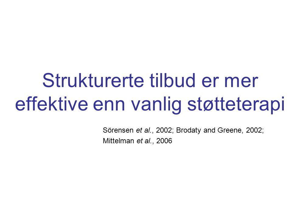Strukturerte tilbud er mer effektive enn vanlig støtteterapi Sörensen et al., 2002; Brodaty and Greene, 2002; Mittelman et al., 2006