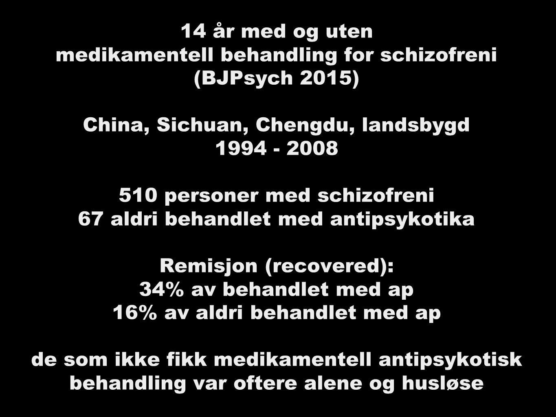 14 år med og uten medikamentell behandling for schizofreni (BJPsych 2015) China, Sichuan, Chengdu, landsbygd 1994 - 2008 510 personer med schizofreni 67 aldri behandlet med antipsykotika Remisjon (recovered): 34% av behandlet med ap 16% av aldri behandlet med ap de som ikke fikk medikamentell antipsykotisk behandling var oftere alene og husløse