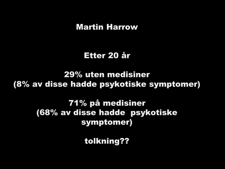 Martin Harrow Etter 20 år 29% uten medisiner (8% av disse hadde psykotiske symptomer) 71% på medisiner (68% av disse hadde psykotiske symptomer) tolkning