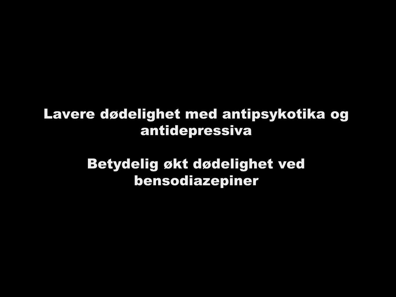 Lavere dødelighet med antipsykotika og antidepressiva Betydelig økt dødelighet ved bensodiazepiner