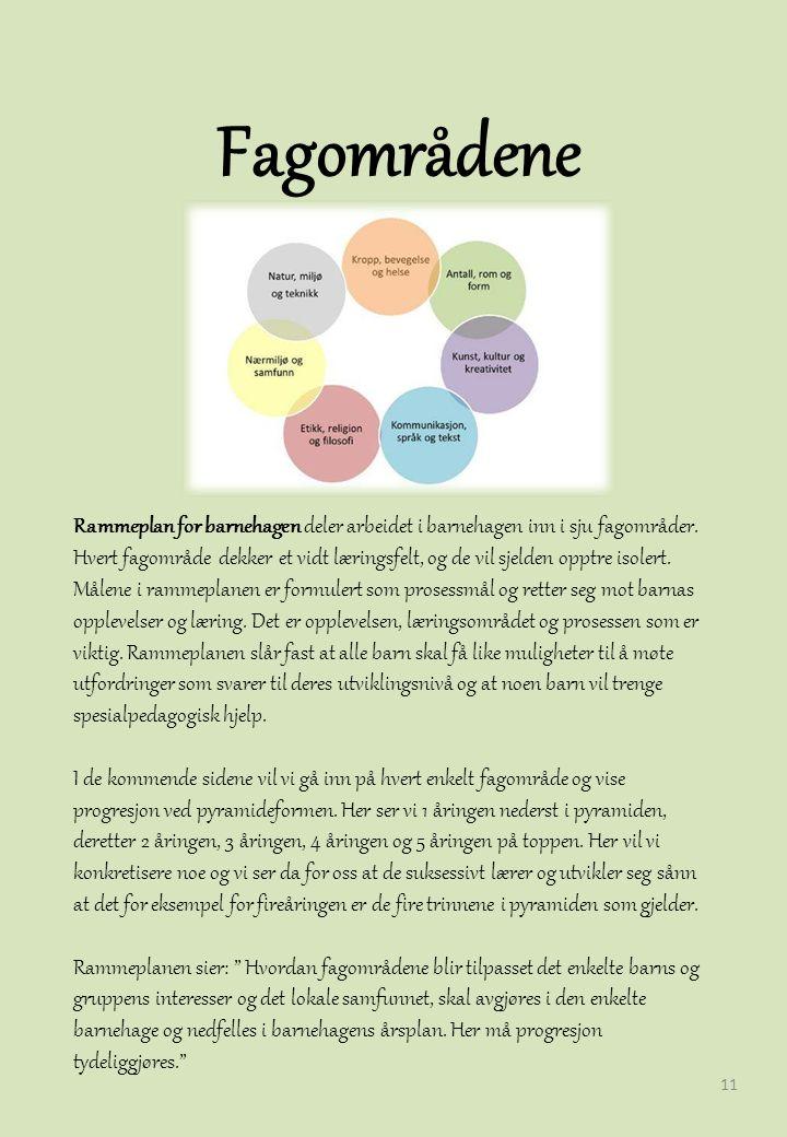 Fagområdene 11 Rammeplan for barnehagen deler arbeidet i barnehagen inn i sju fagområder.