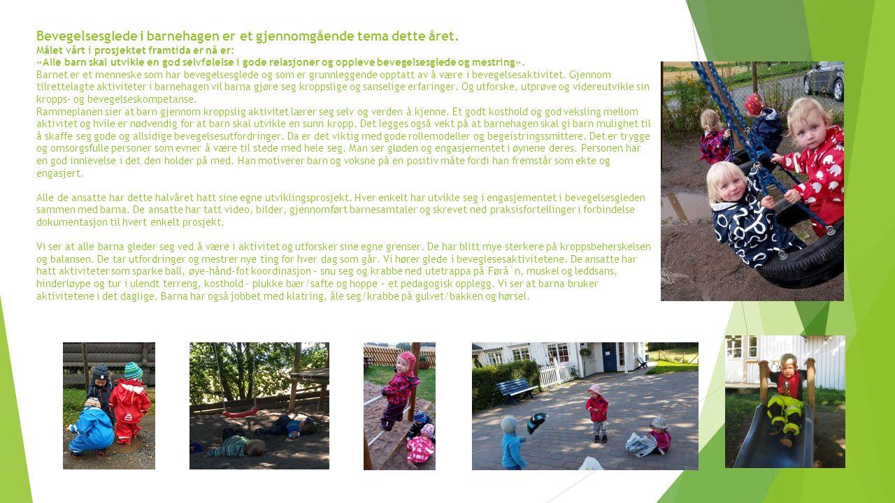 Bevegelsesglede i barnehagen er et gjennomgående tema dette året.