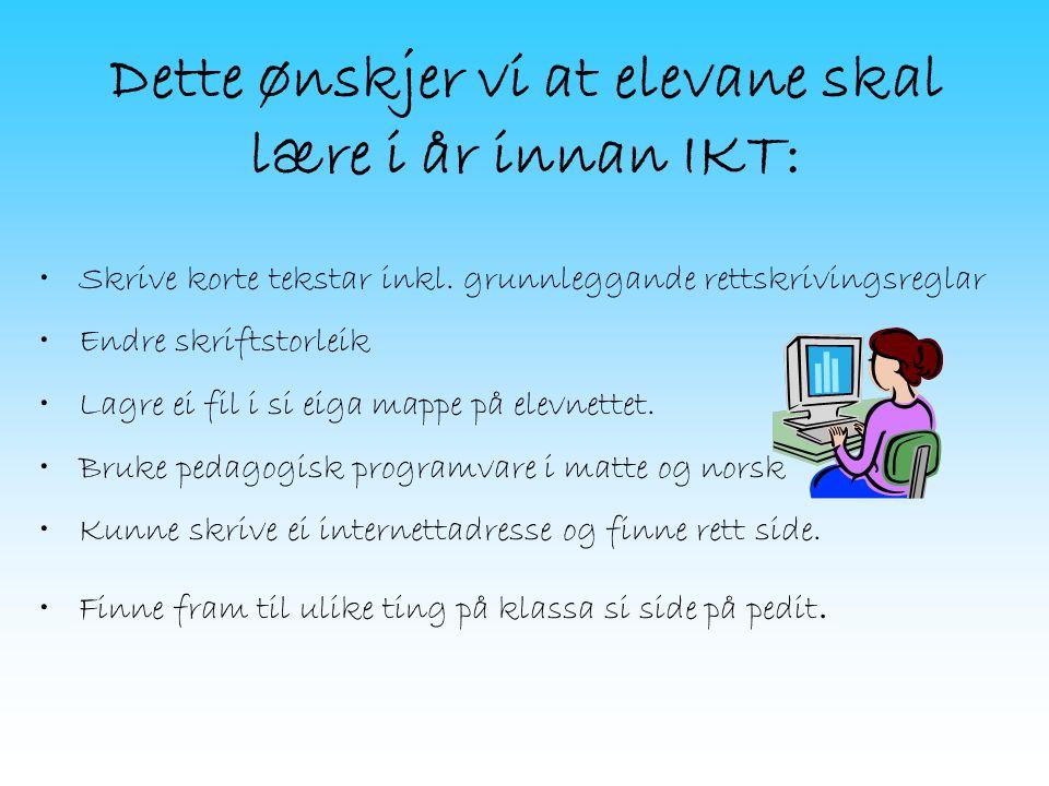 Dette ønskjer vi at elevane skal lære i år innan IKT: Skrive korte tekstar inkl.