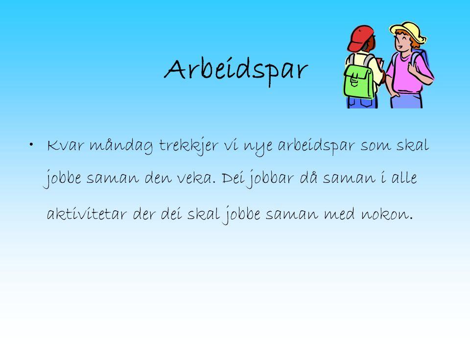 Lekser Leselekse og oppgåver kvar dag i norsk.Lekser i dei ulike faga enkelte dagar.