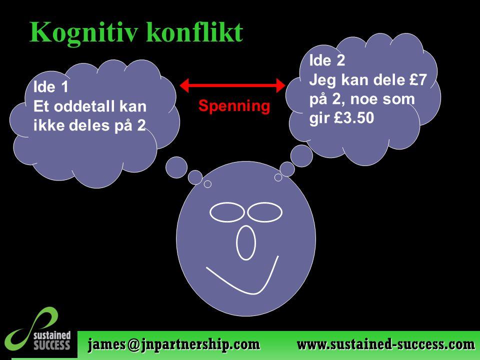 james@jnpartnership.com www.sustained-success.com Kognitiv konflikt Ide 1 Et oddetall kan ikke deles på 2 Ide 2 Jeg kan dele £7 på 2, noe som gir £3.50 Spenning
