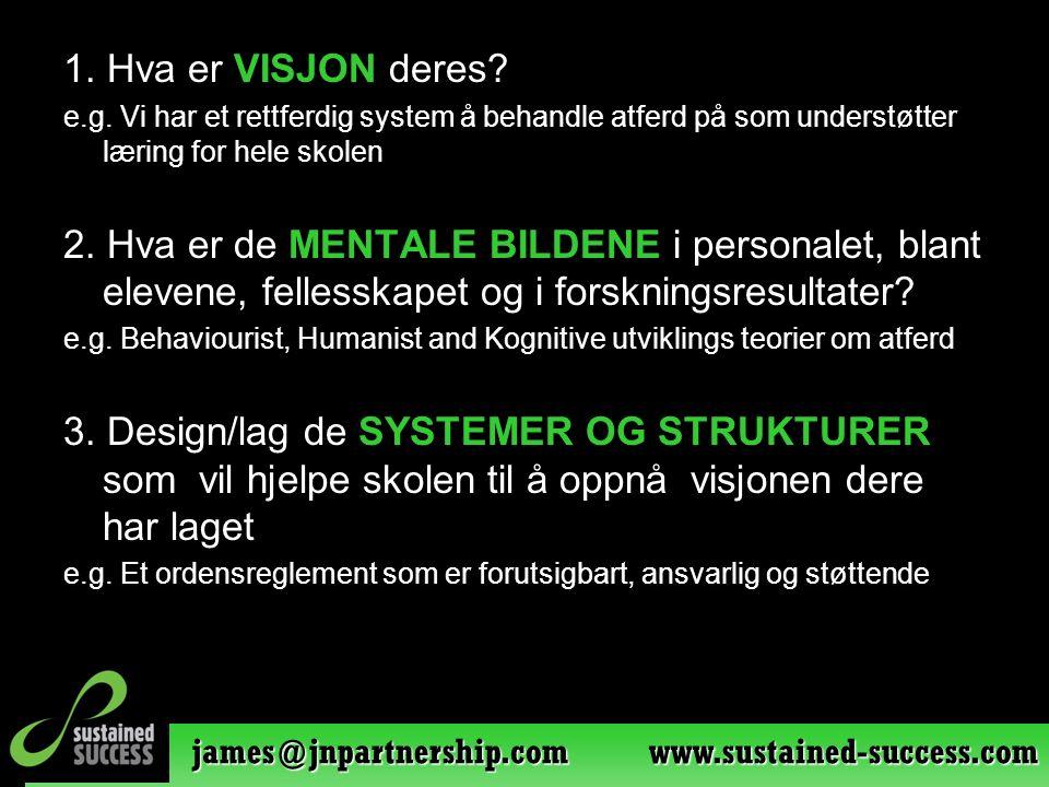 james@jnpartnership.com www.sustained-success.com 1. Hva er VISJON deres? e.g. Vi har et rettferdig system å behandle atferd på som understøtter lærin