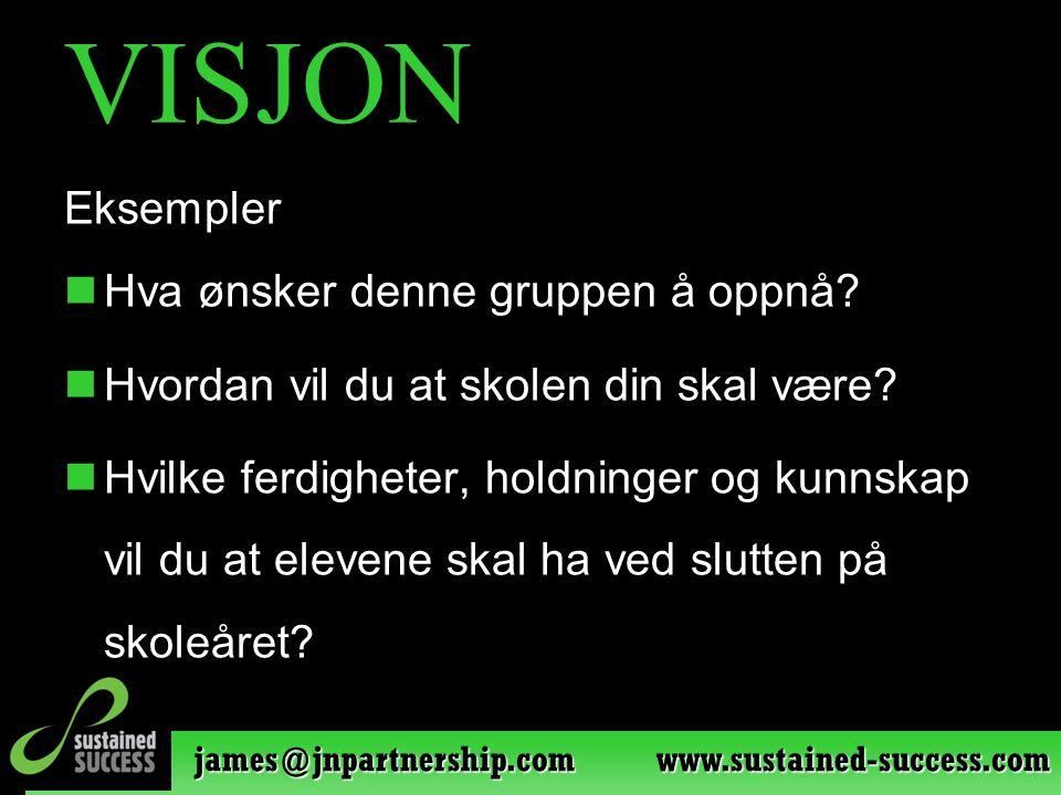 james@jnpartnership.com www.sustained-success.com VISJON Eksempler Hva ønsker denne gruppen å oppnå? Hvordan vil du at skolen din skal være? Hvilke fe