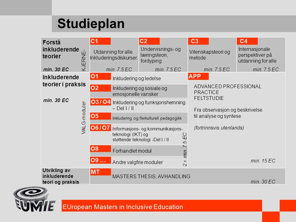 EUropean Masters in Inclusive Education Studieplan Forstå inkluderende teorier Inkluderende teorier i praksis Utvikling av inkluderende teori og praks
