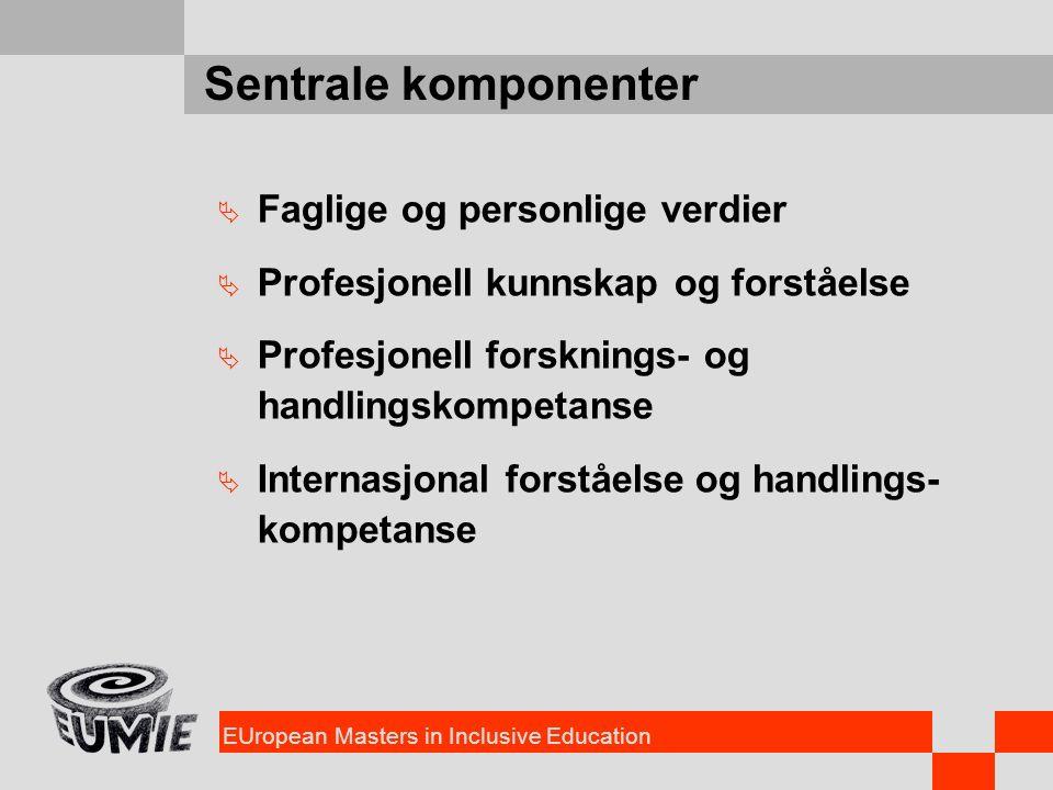 EUropean Masters in Inclusive Education Sentrale komponenter  Faglige og personlige verdier  Profesjonell kunnskap og forståelse  Profesjonell fors
