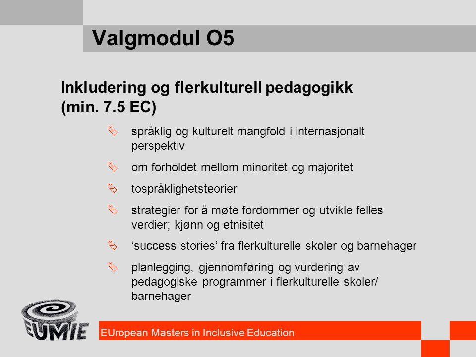 EUropean Masters in Inclusive Education Valgmodul O5 Inkludering og flerkulturell pedagogikk (min. 7.5 EC)  språklig og kulturelt mangfold i internas