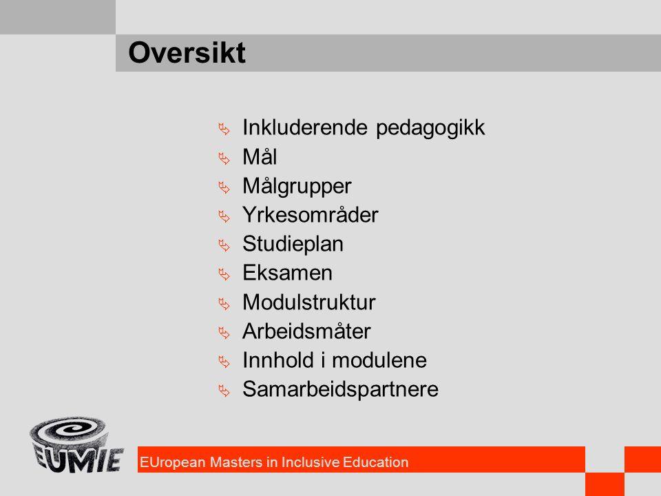 EUropean Masters in Inclusive Education Oversikt  Inkluderende pedagogikk  Mål  Målgrupper  Yrkesområder  Studieplan  Eksamen  Modulstruktur 