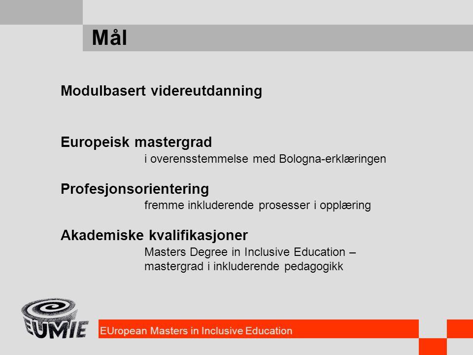 EUropean Masters in Inclusive Education Mål Modulbasert videreutdanning Europeisk mastergrad i overensstemmelse med Bologna-erklæringen Profesjonsorie
