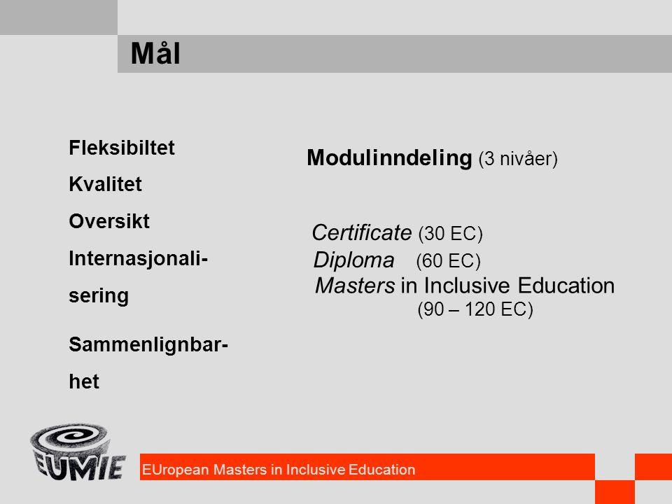 EUropean Masters in Inclusive Education Mål Fleksibiltet Kvalitet Oversikt Internasjonali- sering Sammenlignbar- het Modulinndeling (3 nivåer) Certifi