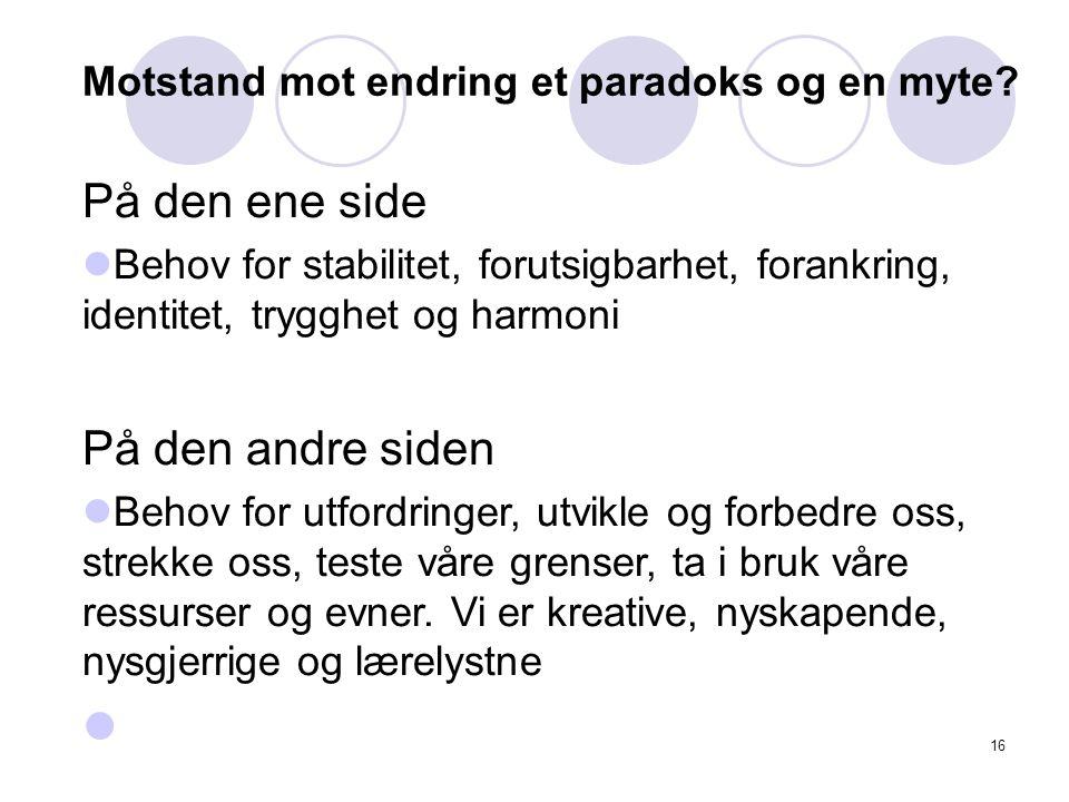 16 Motstand mot endring et paradoks og en myte.