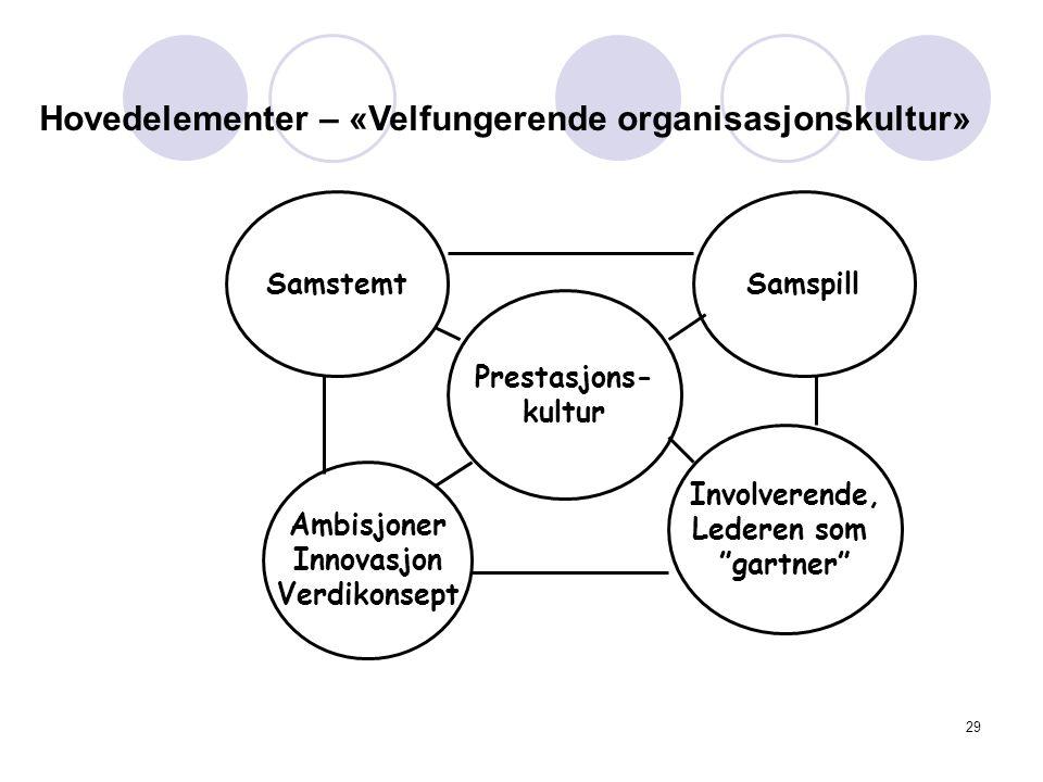 Hovedelementer – «Velfungerende organisasjonskultur» Prestasjons- kultur Ambisjoner Innovasjon Verdikonsept Involverende, Lederen som gartner SamstemtSamspill 29