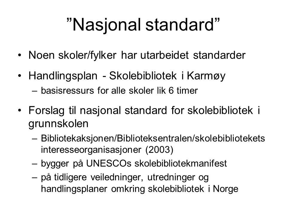 """""""Nasjonal standard"""" Noen skoler/fylker har utarbeidet standarder Handlingsplan - Skolebibliotek i Karmøy –basisressurs for alle skoler lik 6 timer For"""