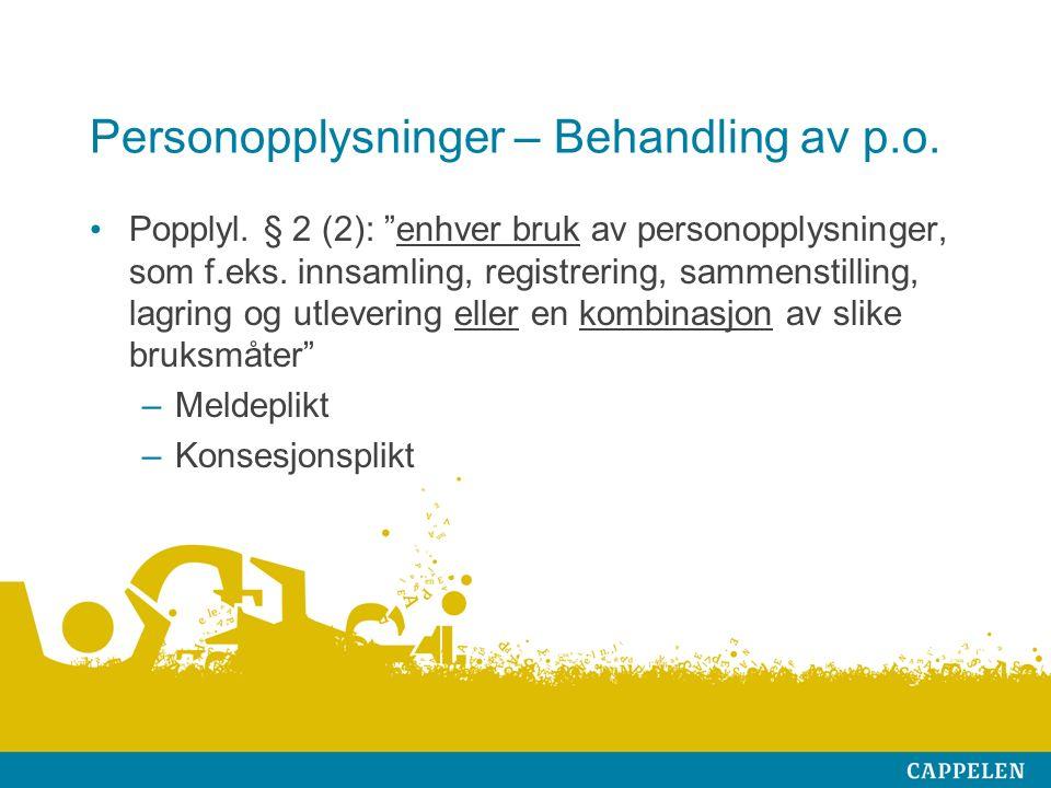 Personopplysninger – Behandling av p.o. Popplyl.
