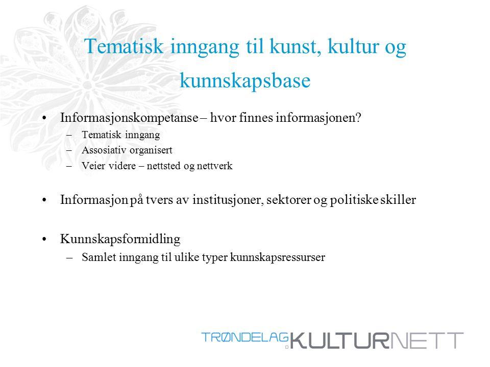 Tematisk inngang til kunst, kultur og kunnskapsbase Informasjonskompetanse – hvor finnes informasjonen.