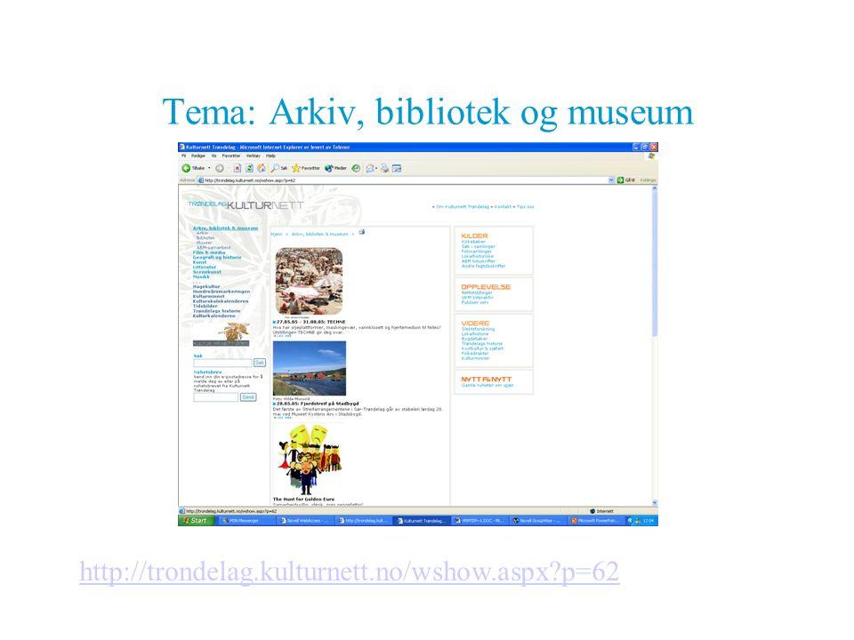 Tema: Arkiv, bibliotek og museum http://trondelag.kulturnett.no/wshow.aspx?p=62