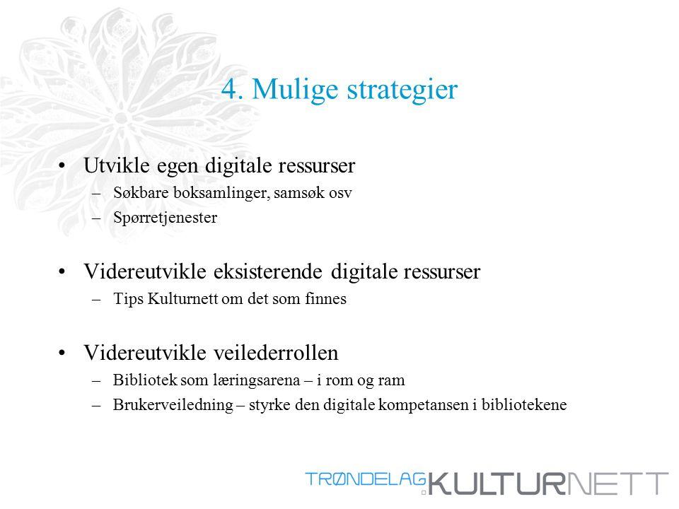 4. Mulige strategier Utvikle egen digitale ressurser –Søkbare boksamlinger, samsøk osv –Spørretjenester Videreutvikle eksisterende digitale ressurser