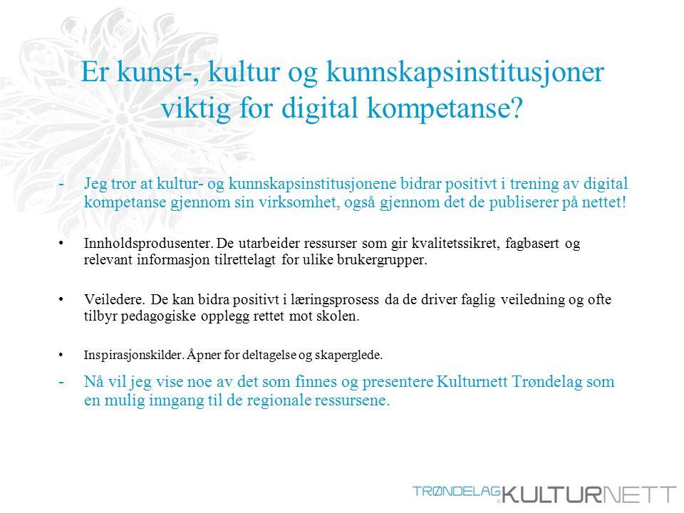 Er kunst-, kultur og kunnskapsinstitusjoner viktig for digital kompetanse.