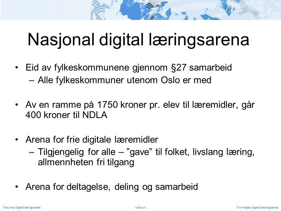 Nasjonal digital læringsarena Eid av fylkeskommunene gjennom §27 samarbeid –Alle fylkeskommuner utenom Oslo er med Av en ramme på 1750 kroner pr.