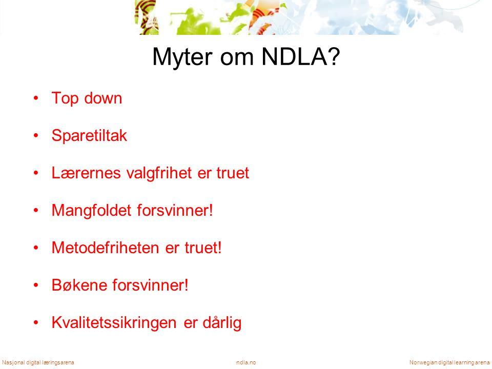 Myter om NDLA. Top down Sparetiltak Lærernes valgfrihet er truet Mangfoldet forsvinner.