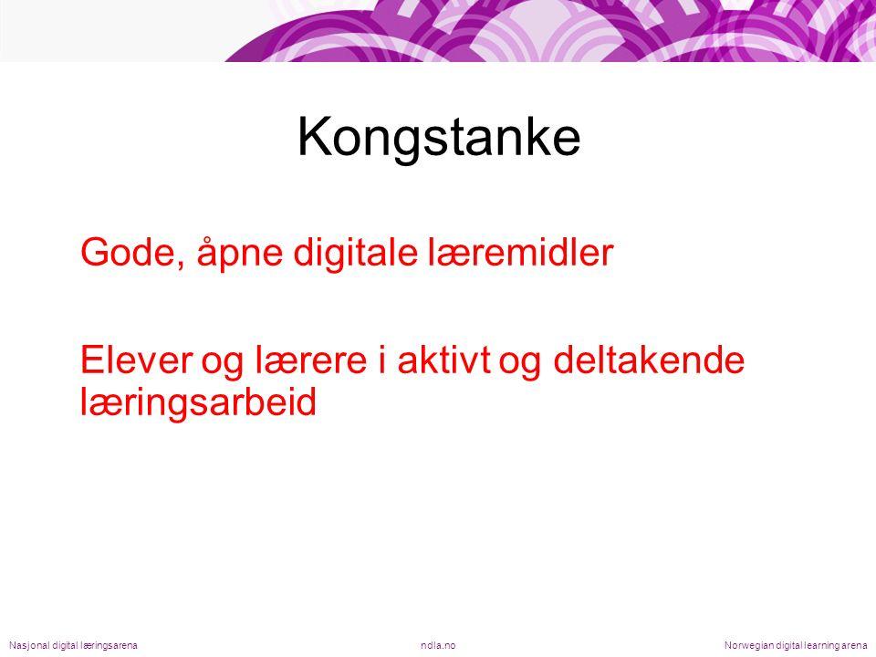 Læremidler som er –Redaksjonelt kvalitetssikret –Oppdatert –Tilgjengelig, gratis, til fri bruk –Ressurs, - ikke metode –Mange bidragsytere, produsenter, stemmer –Valg, tilpasning, medvirkning ndla.noNasjonal digital læringsarenaNorwegian digital learning arena